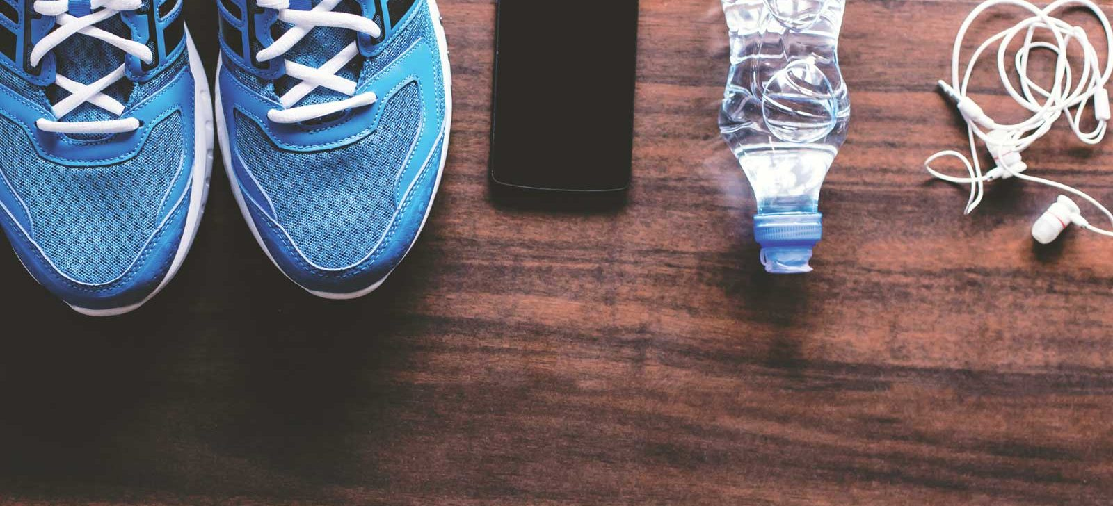 Shoes, phone, water bottle, earplugs